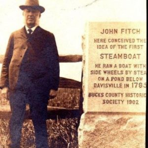 Edward Longstreth alongside the John Fitch stone. He had this stone made to commemorate where Fitch came up with the idea of the steamboat.