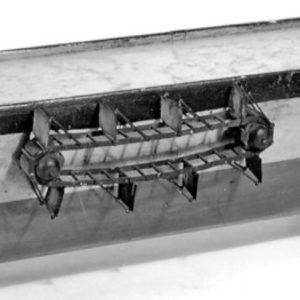 Close-up of model of one type of John Fitch's steamboats